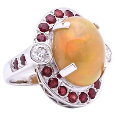 Women's 10.05ct Solid Opal Ring in 18K White Gold w/Rubies & Diamonds
