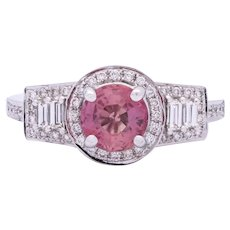 Padparadscha Sapphire Engagement Ring in 18k White Gold with Diamonds