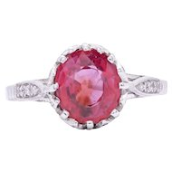 2.10ct Pink Sapphire Ring in Platinum with diamonds from 1930s