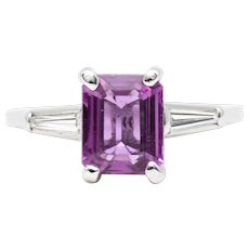 Women's 2ct Padparadscha Pink Sapphire Ring in Platinum with Diamonds
