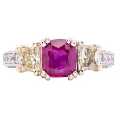 Women's Unheated 2.02ct Ruby Ring with Yellow and White Diamonds in 18k Gold