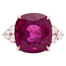 Women's 14.77ct Rubellite Tourmaline Ring in 18k Rose Gold with Diamonds