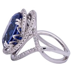 Women's 10.11ct Tanzanite Ring in 18k White Gold with Diamonds