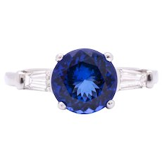 Women's 3ct Tanzanite Engagement Ring in Platinum with Diamonds