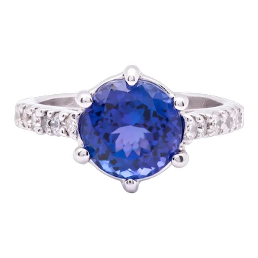 Women's ~4ct Tanzanite Ring in 14k White Gold w/ Diamonds