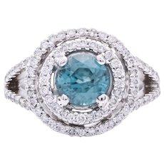 Women's 1ct Blue Zircon Ring in 18k White Gold with Diamonds