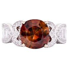 Women's Mogok Zircon Ring in 18k White Gold with Diamonds