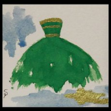 Green Gown w/ Gold Bands