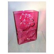 Cranberry Glass Rose Vase