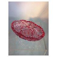 Pink Pressed Glass Relish