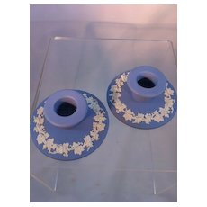 Wedgwood Blue Jasperware Candlesticks