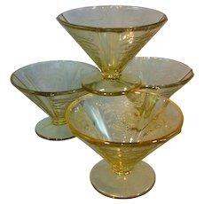 "Amber ""Madrid"" Glass Sherbets"