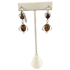 14k Gold and Amber Earrings
