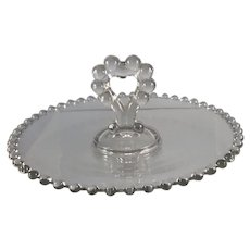Imperial Candlewick Glass Heart Handle Bon Bon Dish
