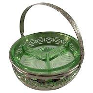 Green Depression Glass Divided Basket