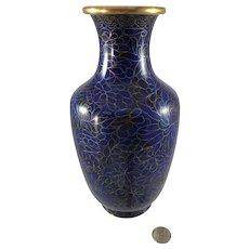 Cobalt Blue Cloisonne Vase