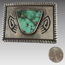Mexican Silver & Turquoise Belt Buckle