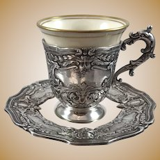 Espresso Cups with Silver Plated holders and Saucers