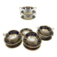 Aynsley Cobalt Blue Gilt Double Handled Soups with Saucers