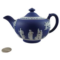 Wedgwood Cobalt Blue Jasperware Tea Pot