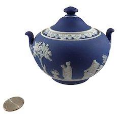 Wedgwood Cobalt Blue Jasperware Sugar Bowl