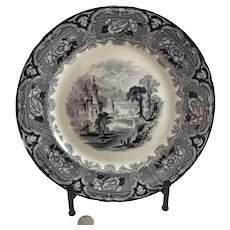 "J Clementson ""Udina"" Black Ironstone Transferware Dinner Plate"