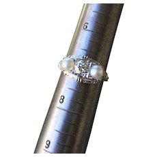 Diamond Pearl and Platinum Ring
