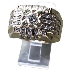 Gents 14k Gold and Diamond Ring