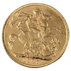 1907 British Gold 1/4 OZ Soverign Coin