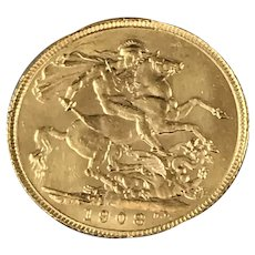1908 British Soverign Gold 1/4 OZ Coin