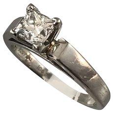 Platinum and Princess cut Diamond Ring