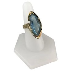 HUGE Blue Topaz and Gold Ring
