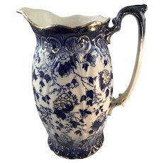 Gilt Flow Blue Pitcher