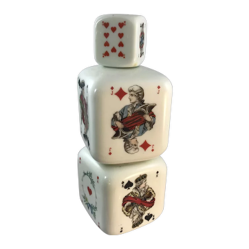 Playing Card Milk Glass Decanter