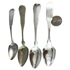 Group of 4 19th Century Fiddle Back Spoons Coin Silver