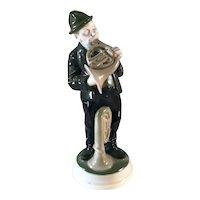 "Rosenthal Porcelain Figurine of a Man with a French Horn ""Waldhornblaser"" by K. Himmelstoss"