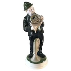 "Rosenthal Porcelain Figurine of a Man with a French Horn ""Waldhornblaser"" by K. Himmelstoss"