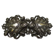 Art Nouveau William B. Kerr Sterling Silver Turtle Belt Buckle