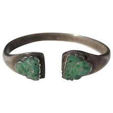 Antique Chinese Silver Jade Carved Jadeite Buddha Bangle Bracelet