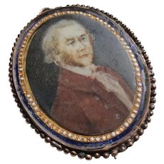 18th Century Miniature Portrait Painting Gentleman 9k Gold Enamel Case