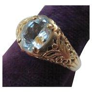 Vintage 14k Gold Filigree Aquamarine Ring