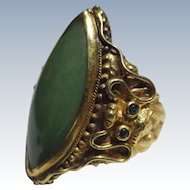 18k Gold Antique Chinese Dragon Jade ring