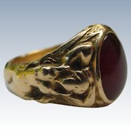 Art Nouveau Antique 1897 Carnelian agate 14k Gold ring mermaid lady