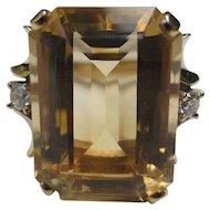Fantastic Citrine & Diamond Mid Century 14k Gold Cocktail Ring