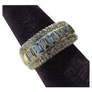 Vintage Famor 14k White Gold and Diamond Cocktail Ring Mid Century