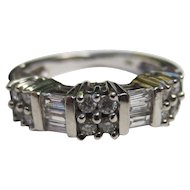 1950's Mid Century 14k White Gold and Diamond Vintage Cocktail Ring