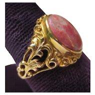 Regal Victorian 14k Gold Art Nouveau Agate Ring