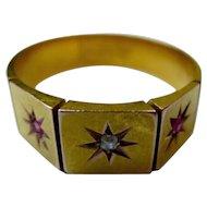 Victorian Diamond & Garnet 14k Gold Band Star Ring