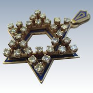 Vintage 14k Gold Enamel Diamond Star of David Jewish Pendant