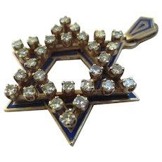 Vintage 14k Gold Enamel Diamond Star of David Jewish Pendant